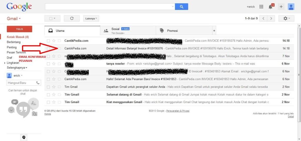 email pesanan